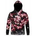Fashion Floral Print Drawstring Hood Long Sleeve Spring Hoodie