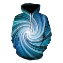 Blue Whirlpool Printed Long Sleeve Unisex Hot Sale Casual Hoodie