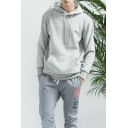 Trendy Gray Bird Patch Long Sleeves Pullover Hoodie with Pocket for Men