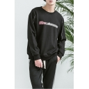 Popular Black Letter Print Round Neck Long Sleeves Pullover Sweatshirt