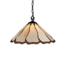 Beige Petal Shape Suspended Light Tiffany Style Vintage Stained Glass 1 Head Drop Light