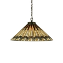 1 Light Conical Hanging Light Tiffany Style Mission Stained Glass Suspended Light in Bronze