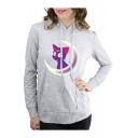 Leisure Long Sleeve Cartoon Cat Printed Regular Fitted Hoodie