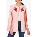 Fashionable Floral Embroidered Pearl Button Round Neck Cape Coat for Women