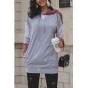 Colorblock Long Sleeve Leisure Tunics Gray Drawstring Hoodie