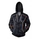 Black Fashion Iron Man Tony Stark Colorblock Long Sleeve Zip Up Regular Fitted Hoodie with Pocket