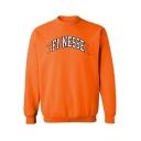 Orange Mock Neck Long Sleeve Fashion Letter Printed Men's Leisure Sweatshirt