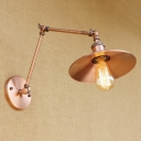 Adjustable Railroad Wall Sconce Retro Style Metal 1 Bulb Wall Lamp in Copper for Study Room