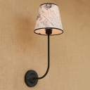 Tapered Wall Mount Fixture Vintage Iron 1 Bulb Accent Wall Lamp in Black with Curved Arm