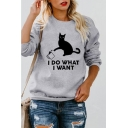 Cartoon Cat Letter I DO WHAT I WANT Printed Leisure Crewneck Long Sleeve Sweatshirt