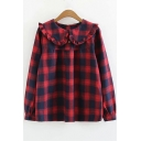 Classic Plaid Peter Pan Collar Long Sleeve Red Loose Blouse Shirt