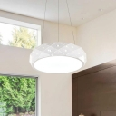 Simple Style Hollow Design Hanging Light Metal Round LED Ceiling Pendant Lamp in White Finish for Commercial