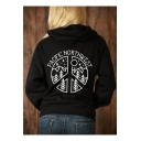Fashionable Long Sleeve Letter PACIFIC NORTHWEST Printed Back Black Casual Hoodie