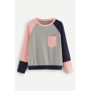 Fashion Colorblock Round Neck Long Sleeve Single Pocket Chest Gray T-Shirt