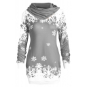 Charming Long Sleeve Colorblock Snowflake Printed Cowl Neck Tunics Sweatshirt