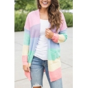 Hot Fashion Colorblock Rainbow Striped Printed Open Front Long Sleeve Pink Cardigan