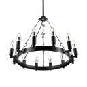 Wrought Iron 12 Light Chandelier in Industrial Style Black Finish Round Pendant Light for Restaurant Farmhouse