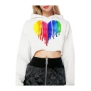 Novelty Long Sleeve Colorful Heart Printed Chic White Hooded