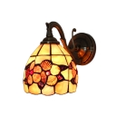 Flower Pattern Wall Lamp Shelly Tiffany Style Stained Glass Wall Sconce in Antique Brass for Balcony