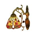 Dragonfly Wall Sconce Tiffany Style Stained Glass Wall Lamp in Multicolor for Bedroom Staircase