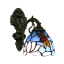 Dragonfly and Flower Wall Sconce Tiffany Style Stained Glass Wall Lamp in Antique Brass
