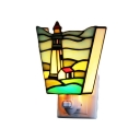 Tiffany Style Beacon Design Sconce Stained Glass Plug-in Night Light in Multicolor for Bedroom Corridor