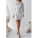 Long Sleeve Mock Neck Ruffle Detail Semi Sheer Lace Insert Mini Bodycon Dress