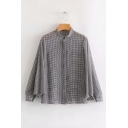 Classic Plaid Batwing Long Sleeve Stand Collar Button Down Shirt