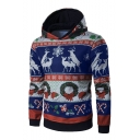 Cute Cartoon Deer Snowflake Printed Long Sleeve Unisex Hoodie