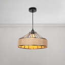 Round Hanging Lamp Industrial Natural Manila Rope Decorative Pendant Light for Living Room