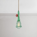 Metal Cage Hanging Light Industrial Colorful Steel 1 Bulb Suspension Light for Hallway Bedroom