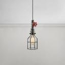 Single Head Pipe Drop Light Retro Style Wrought Iron Art Deco Suspension Light in Black