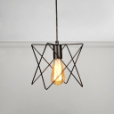 Open Bulb Pendant Lamp Industrial Steel Ambient Lighting Fixture with Metal Frame