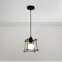 Rectangle Metal Frame Suspended Light Retro Style Steel Single Drop Light for Dining Room