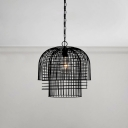 Wrought Iron Caged Hanging Fixture Industrial Vintage Single Bulb Pendant Lamp Fixture