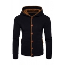 Men's Fashion Button Down Elbow Patched Long Sleeve Colorblock Fitted Hoodie