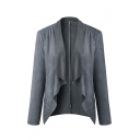 New Trendy Basic Solid Cascade Collar Long Sleeve Woolen Cardigan Coat