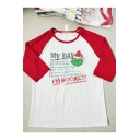 Funny Letter MY DAY I'M BOOKED Christmas Cartoon Santa Claus Pattern Colorblock White Long Sleeve Tee