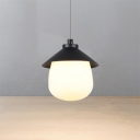 Acrylic Nut Shape LED Pendant Lighting Modern Style Single Suspension Light in Black for Bedside
