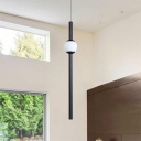 Ultra Slim Tube Pendant Lights Minimalist Metal and Glass 1-LED Hanging Lighting in Black
