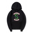 Hot Fashion Letter SOUTH SIDE Snake Printed Long Sleeve Relaxed Hoodie