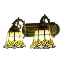 Aged Brass Finish Bell Wall Sconce Tiffany Style Stained Glass Double Lights Wall Lamp