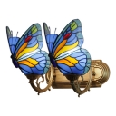 Navy Blue Butterfly Wall Lighting Country Style Stained Glass Double Heads Sconce Light
