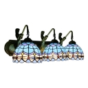 Nautical Tiffany Dome Wall Light Stained Glass 3 Head Wall Mount Light in Blue for Bedroom
