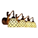 Tiffany Style Jeweled Wall Mount Fixture Stained Glass 4-Light Wall Sconce in Beige with Mermaid
