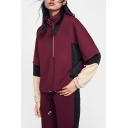 Sports Long Sleeve Stand Collar Colorblock Patched Zip Front Burgundy Sweatshirt
