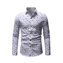White Geo Print Basic Collar Button Closure Long Sleeve Slim Shirt