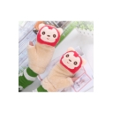 Convertible Fingerless Warm Cartoon A-Li The Fox Printed Lamb Woolen Gloves