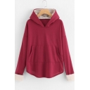 Loose Long Sleeve Hot Popular Fleece Patched Red Hoodie