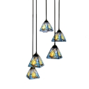5 Lights Sailboat Pendant Light Nautical Tiffany Blue Glass Art Deco Hanging Lamp for Living Room